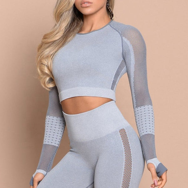 Women Yoga Set Yoga Crop Top Seamless Leggings Workout Yoga Pants Gym Set High Waist Legging Pants Sport Clothing Fitness Shirt - unitedstatesgoods