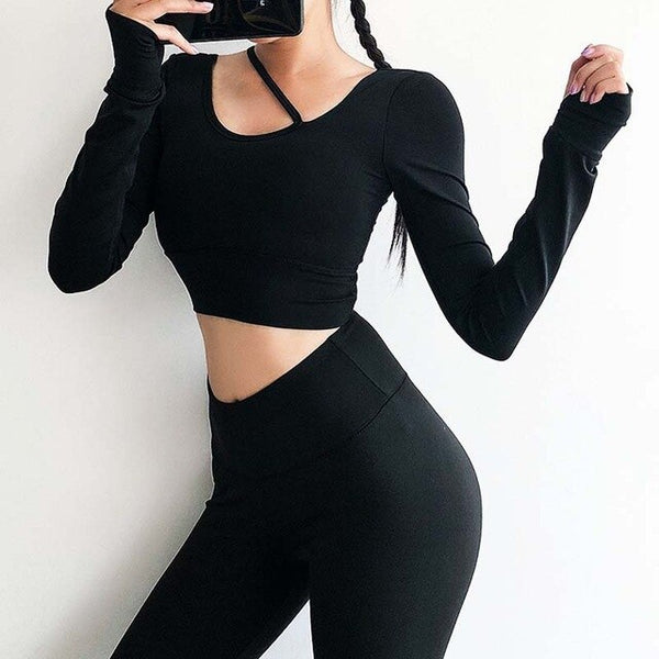 Women long sleeve Midriff  Sexy Sports T-shirt running clothing fitness shirt  training yoga Top  pad  gym top workout - unitedstatesgoods