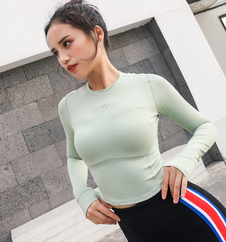 Women's Tight Long Sleeve T-shirt Gym training Crop Top With Thumb Hole Running Fitness Sports Shirts Workout Yoga Top Shirts - unitedstatesgoods