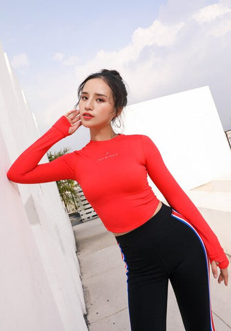 Women's Tight Long Sleeve T-shirt Gym training Crop Top With Thumb Hole Running Fitness Sports Shirts Workout Yoga Top Shirts