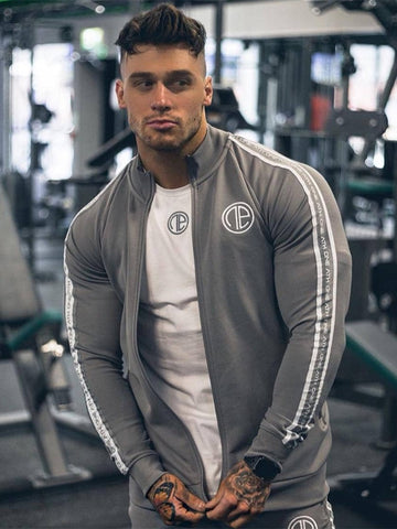 YEMEKE 2019 Men's Fitness Hooded Sweatshirt Gyms Clothing Hoodies Workout Embroidery Hoodies Men's Fitness Slim Hooded jacket
