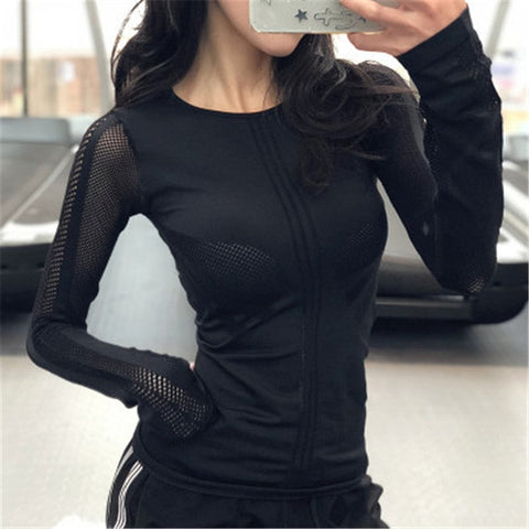 Yoga Shirt Women Tops Gym Sport Tops Fit Workout Quick Dry Running Sport T Shirts Fitness Long Sleeve Yoga Women T Shirts - unitedstatesgoods