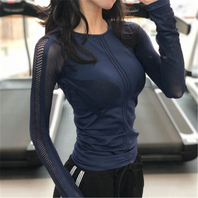 Yoga Shirt Women Tops Gym Sport Tops Fit Workout Quick Dry Running Sport T Shirts Fitness Long Sleeve Yoga Women T Shirts