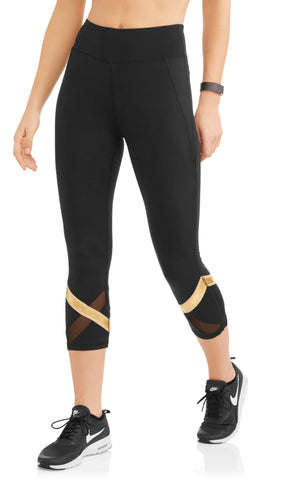 Womens Shine Stripe Powermesh Performance Capri Legging