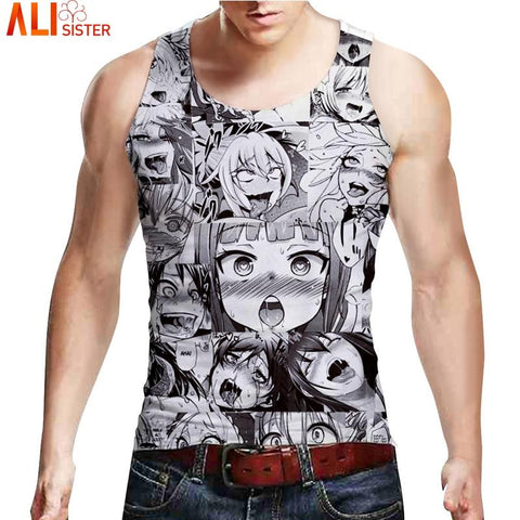 Alisister Ahegao 3D Tank Top Men Colorfully Cartoon Vest Tops Casual Sleeveless Undershirts Bodybuilding Summer Funny Tee Vest