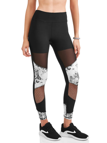 N.Y.L. Sport Women's Floral Print and Mesh Insert Performance Legging - unitedstatesgoods