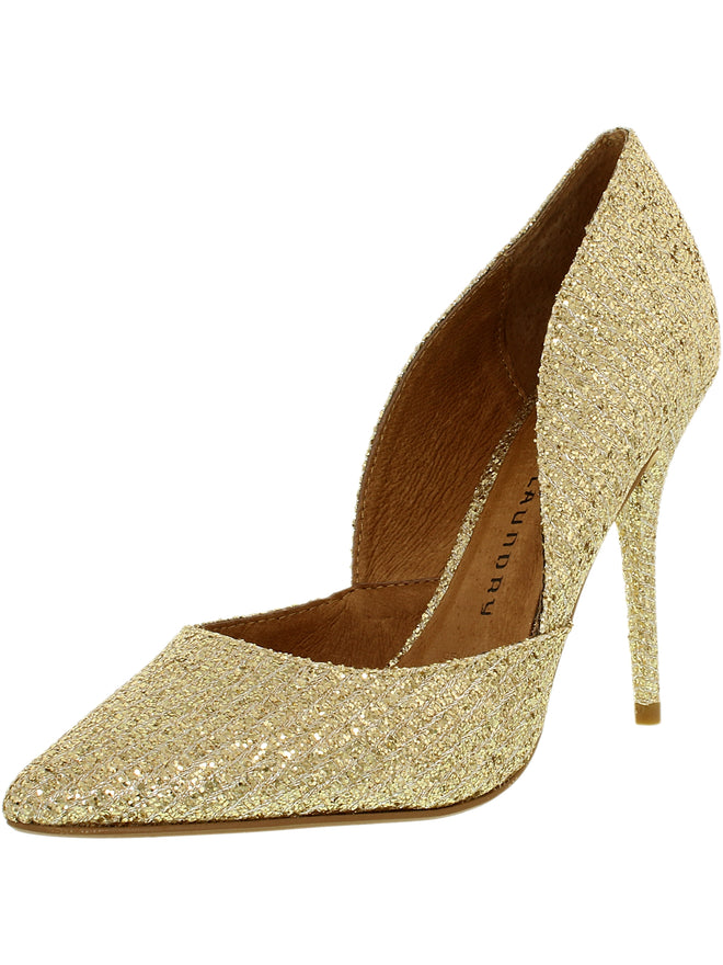 Chinese Laundry Women's Stilo Suede Champagne Glitter Ankle-High Pump - 7.5M - unitedstatesgoods