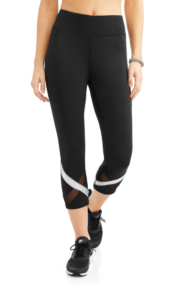 Women's Shine Stripe Powermesh Performance Capri Legging - unitedstatesgoods