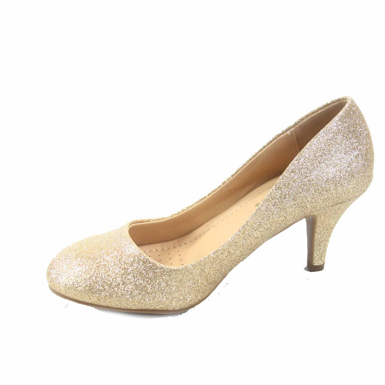 Carlos-s Women's Patent Glitter Round Toe Low Heel Pump Dress Shoes - unitedstatesgoods