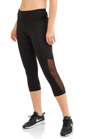Women's Core Active Mesh Insert Performance Capri Legging - unitedstatesgoods