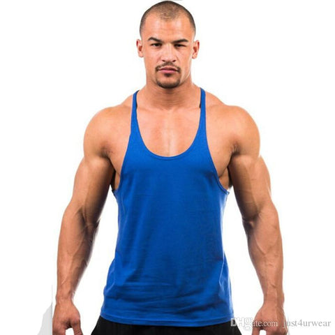 Candy Color Tank Tops Men Summer GYM Fitness Casual Loose Athletic Vests Sleeveless Tanks Tee - unitedstatesgoods