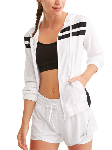 Womens Full Zip Hoodie Windbreaker With Athletic Stripes