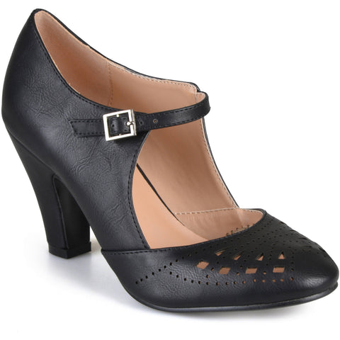Brinley Co. Womens Cutout Round Toe Mary Jane Pumps - unitedstatesgoods