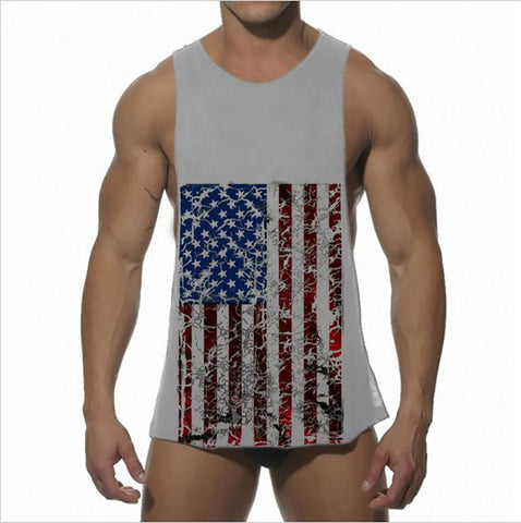 Fashion Flag Printed Men's Tank Vest Cotton Sport Short Top Muscle Man Sleeveless O-Neck Vest Tank For Gym Sport - unitedstatesgoods