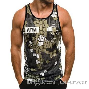 Men Casual Vests Athletic Active Tank Tops Camouflage Slim Fit Sleeveless Tshirts Tops - unitedstatesgoods