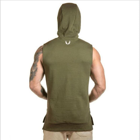 Mens ASRV Special Forces Muscle Hooded Vest Singlets Tank Tops Stringer Bodybuilding Fitness Clothes Sleeveless Shirts