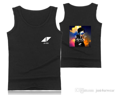 Mens Casual Tank Tops Summer Sleeveless T-shirt Vest Men Underwear Crew Neck Athletic Vest Sweden DJ Avicii Print Vests Tees Male Tops - unitedstatesgoods