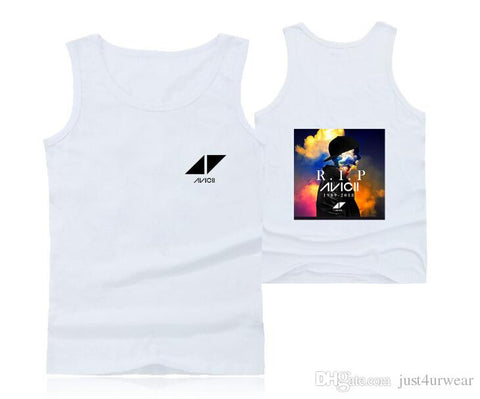 Mens Casual Tank Tops Summer Sleeveless T-shirt Vest Men Underwear Crew Neck Athletic Vest Sweden DJ Avicii Print Vests Tees Male Tops