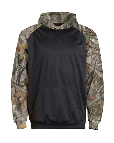 Youth Color Black Performance Hoodie - Camo/charcoal / Small
