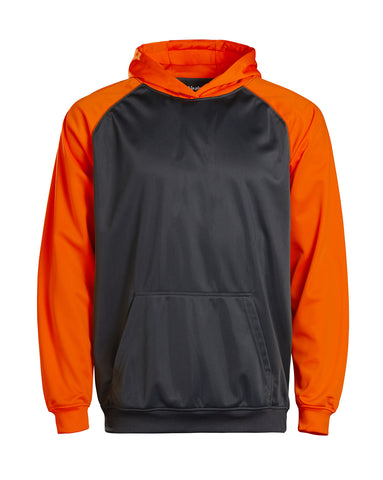 Youth Color Black Performance Hoodie - Orange/charcoal / Small