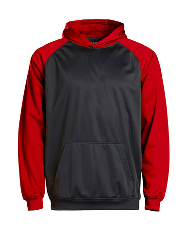 Youth Color Black Performance Hoodie - Red/charcoal / Small
