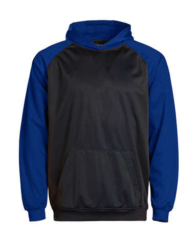Youth Color Black Performance Hoodie - Royal/charcoal / Small