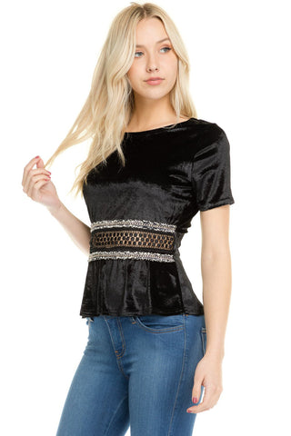 Women's Velvet Crochet Chain Zipper T-Shirt - unitedstatesgoods