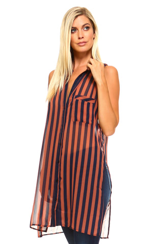 Women's Long Sheer Sleeveless Stripe Blouse - unitedstatesgoods