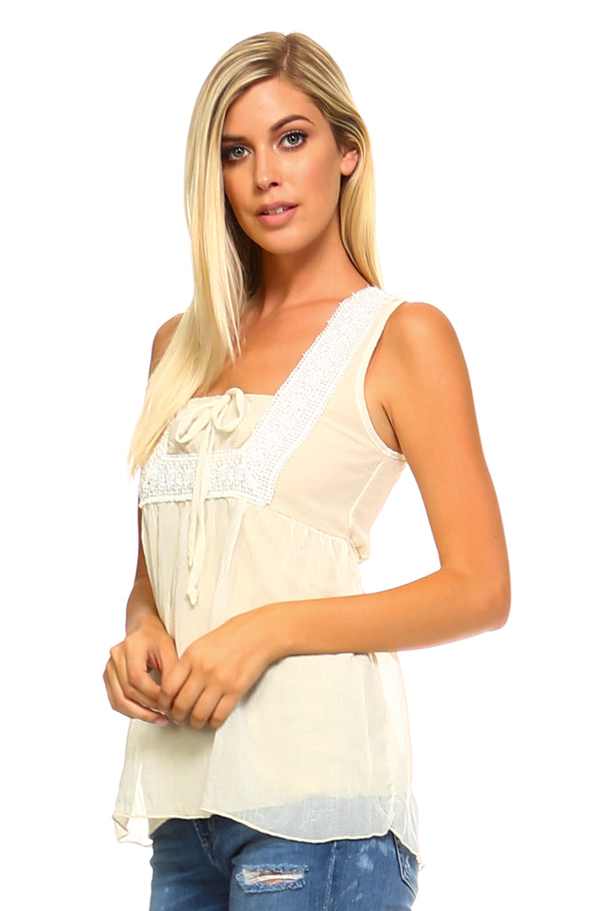 Women's Crochet Tie Sleeveless Top - unitedstatesgoods