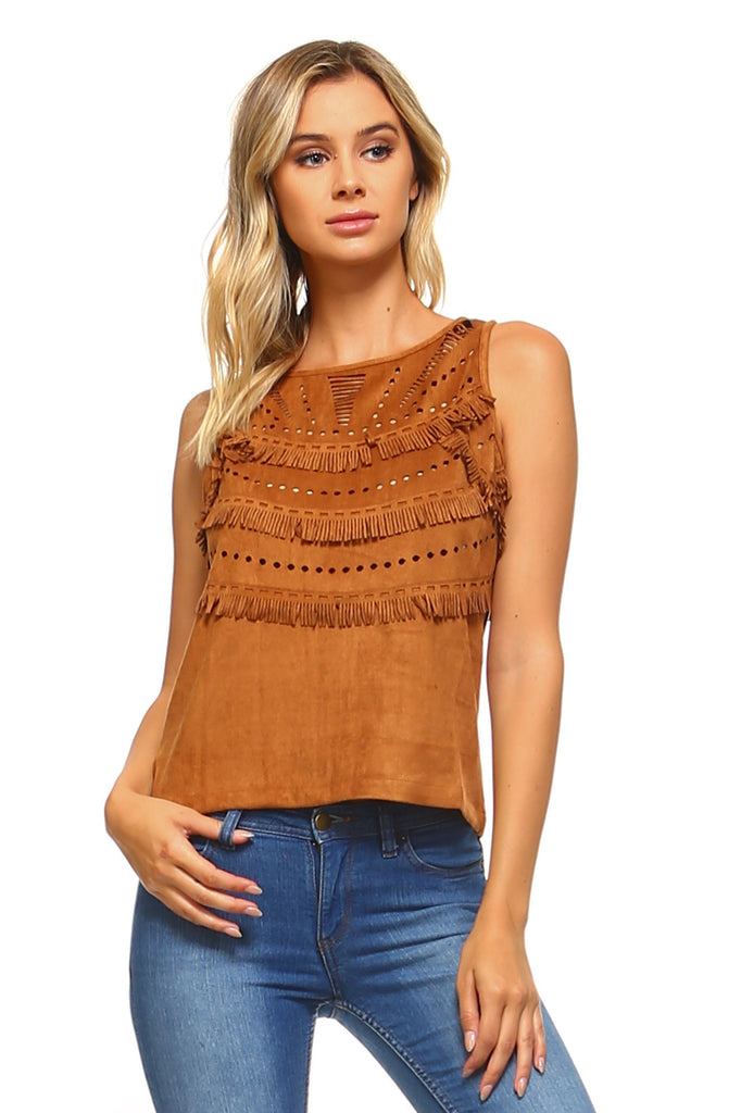 Womens Suede Fringe Laser Cut Tank Top - Small / Camel 1