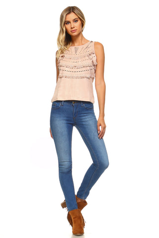Womens Suede Fringe Laser Cut Tank Top - Large / Blush