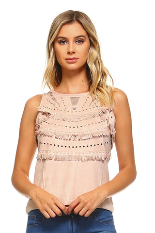 Womens Suede Fringe Laser Cut Tank Top - Small / Blush