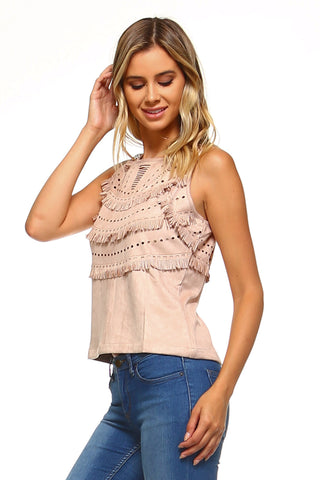 Womens Suede Fringe Laser Cut Tank Top - Medium / Blush