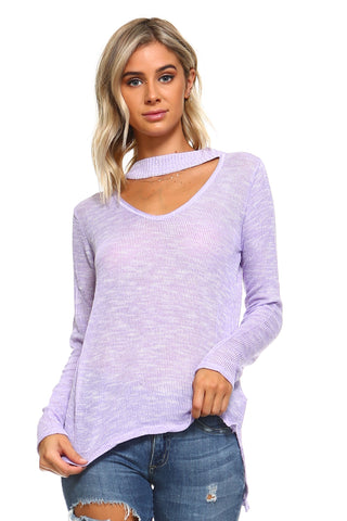 Women's Light Knit Sweater Top With Cut-Out Neck - unitedstatesgoods