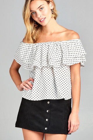 Women's Double Ruffle Off Shoulder Polka Dot Top - unitedstatesgoods