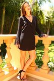 Women's Long Lace Sleeve V-Neck Dress - unitedstatesgoods