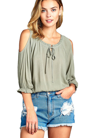 Women's 3/4 Three Quarter Cold Shoulder Top - unitedstatesgoods