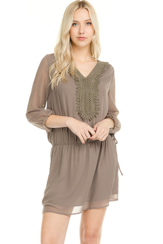 Women's Three Quarter 3/4 Sleeve Crochet Tie Dress - unitedstatesgoods