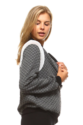 Women's Checkered Mesh Detail Bomber - unitedstatesgoods