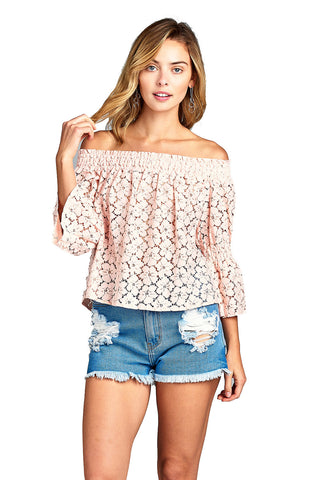 Women's 3/4 Three Quarter Long Sleeve Off Shoulder Floral Lace Top - unitedstatesgoods