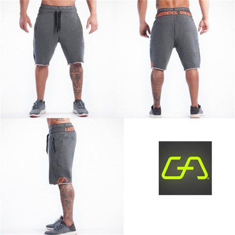 Mens gym cotton shorts Run jogging sports Fitness bodybuilding Sweatpants male workout training Brand Knee Length short pants - unitedstatesgoods