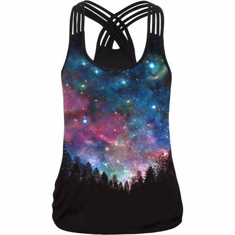 Starry sky printed yoga tank top women's sports shirts elastic soft fitness t-shirt female sleeveless shirt women gym t shirt - unitedstatesgoods