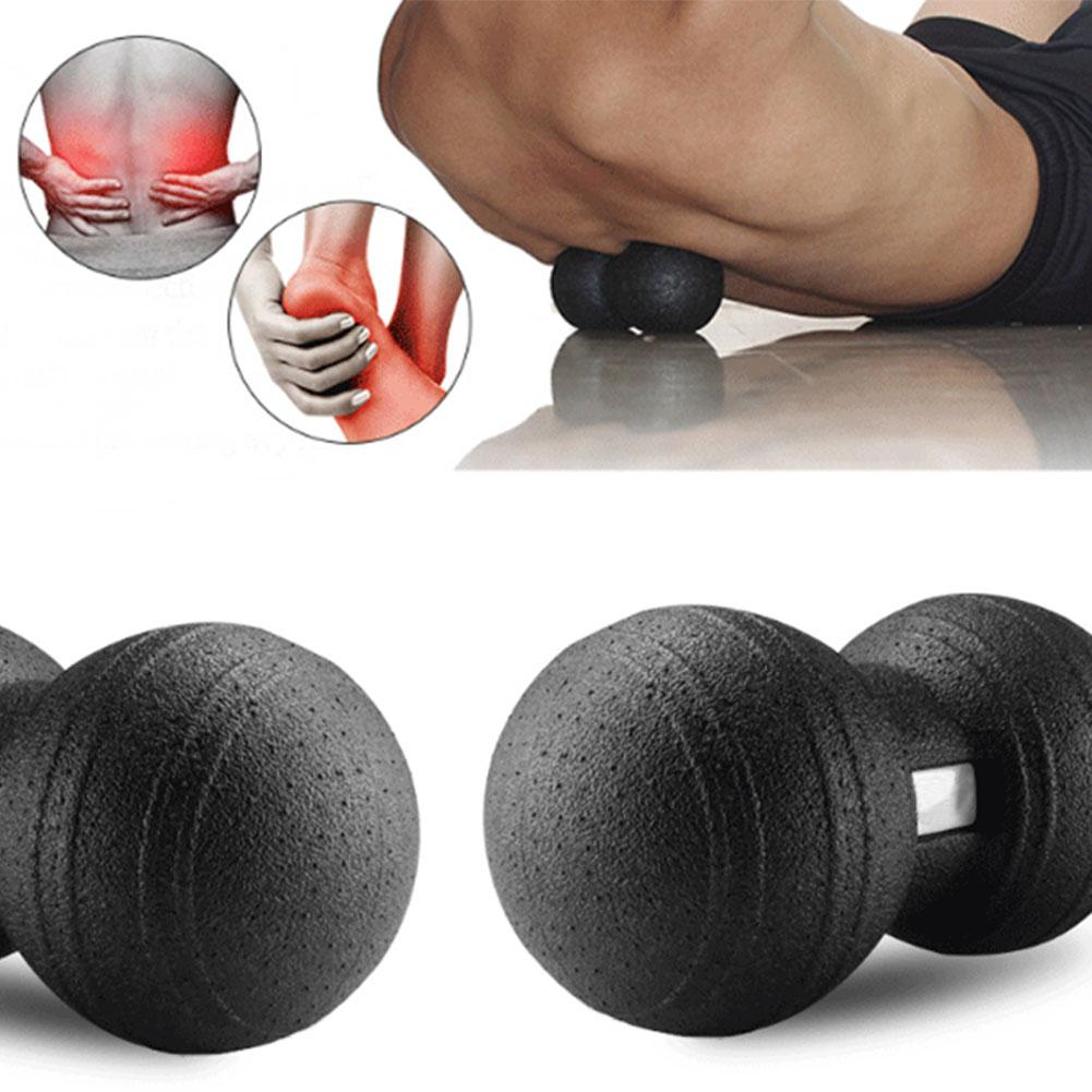 Peanut Massage Ball Fitness Double Lacrosse Ball for Yoga Therapy Gym Relax Exercise Trigger Point Therapy Black Colors - unitedstatesgoods