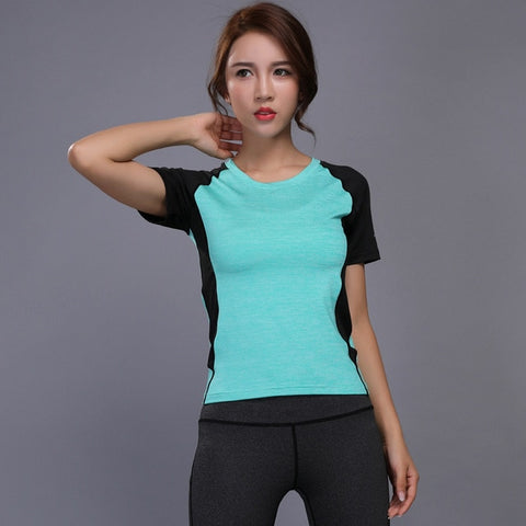Women Sport training Short Shirts yoga clothes Running Fitness Workout T-shirt Fitness quick-drying Female Gym Sports Tops - unitedstatesgoods