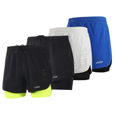 LIXADA Men 2-in-1 Running Shorts Quick Drying Breathable Gym Sports Shorts Training Exercise Jogging Cycling Shorts Longer Liner - unitedstatesgoods