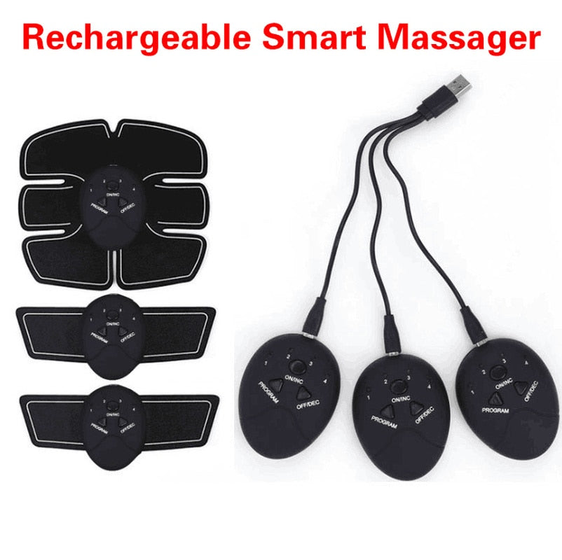 Rechargeable ABS Abdominal Muscle Stimulator Exerciser Device ab roller Loss Weight Slimming Training Massager gym equipment - unitedstatesgoods