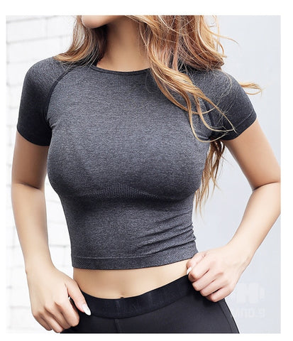 Seamless  Women Gym Yoga Top T-shirt Female Workout Tops Sport Shirt Fitness SJersey Woman Workout Tops Sports Wear - unitedstatesgoods