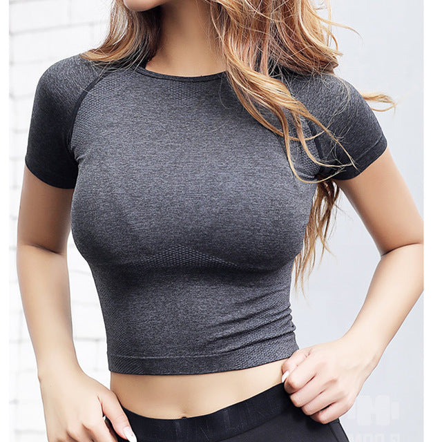 Seamless Crop Tops for Women Short Sleeve Workout Shirts for Fitness Gym Running Yoga