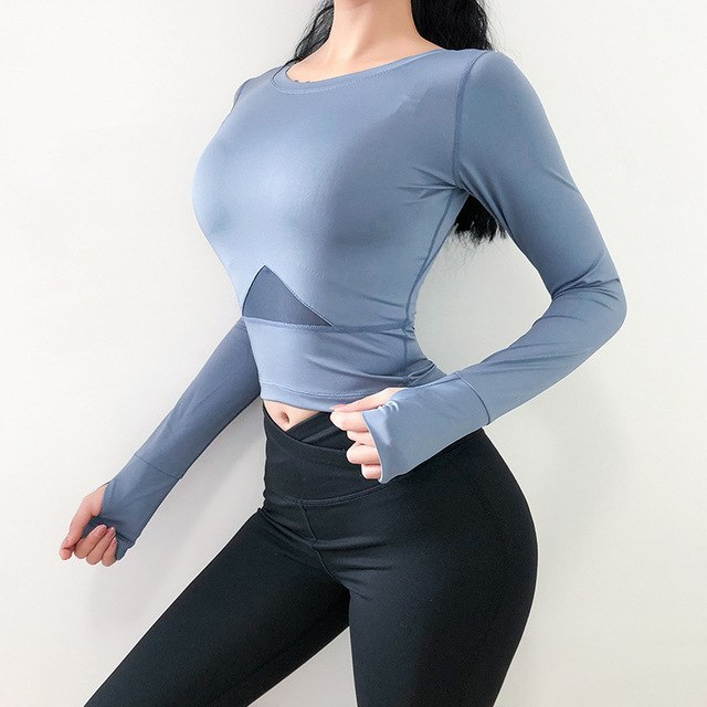 Top For Fitness Long Sleeve High Elasticity Yoga Shirt Quick Drying Tight Gym Top Running Workout Short Sports Tops female - unitedstatesgoods