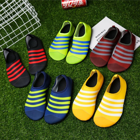 Special! Adult Four Seasons indoor and outdoor striped beach gym water swimming shoes surfing shoes Aqua shoes - unitedstatesgoods